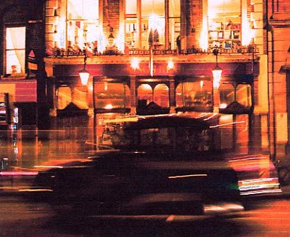 The Kings Head theatre pub at night.